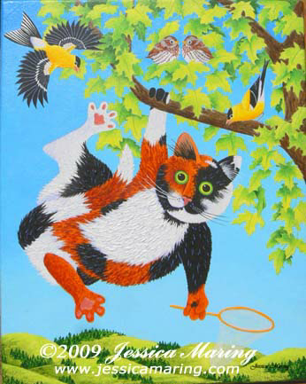 """Tatters Chases Birds"", a painting of a silly cat chasing birds by Jessica Maring"