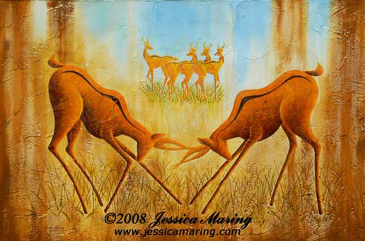 """Battle"", a painting of antelopes battling by Jessica Maring"