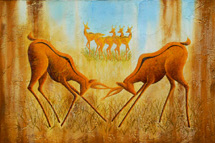 """Battle"", a painting of battling antelope by Jessica Maring"