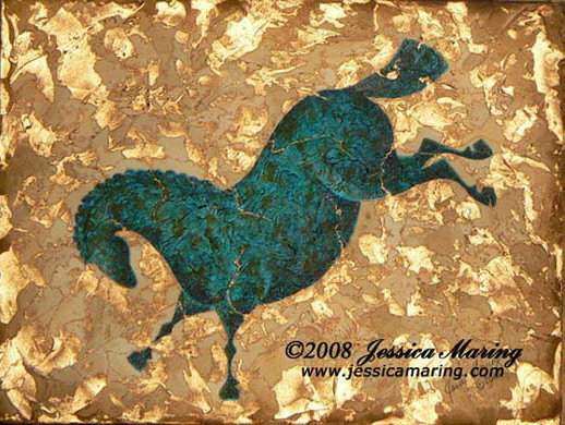 """Blue Boy"", a painting of a verdegris copper horse by Jessica Maring"