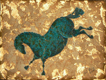 """Blue Boy"", a painting of a verdigris copper horse by Jessica Maring"