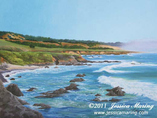 """California Coast"", a landscape painting of coast & sea by artist Jessica Maring"