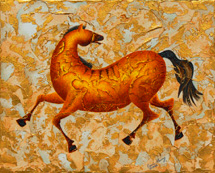 """Following Me?"" a painting of a prancing horse by Jessica Maring"