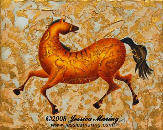 """Following Me?"", a painting of a prancing horse by Jessica Maring"