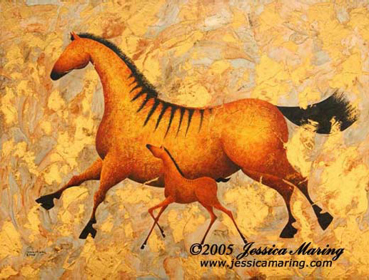 """Heading for Golden Pastures"", a painting of a horse and colt by Jessica Maring"