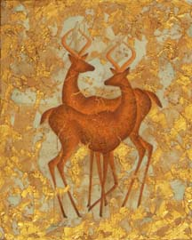 """Ice Age Antelope"", a painting of antelope by Jessica Maring"
