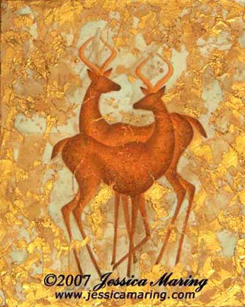 """Ice Age Antelope"", a painting of two antelope by Jessica Maring"