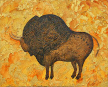 """Ice Age Bison"", a painting of a prehistoric buffalo by Jessica Maring"