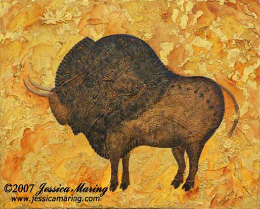 """Ice Age Bison"", a painting of a prehistoric bison by Jessica Maring"