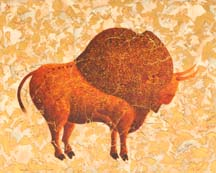 """Ice Age Bison II"", a painting of a prehistoric bison by Jessica Maring"