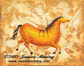 """Impressions of Lascaux I"", a painting of an ice age horse by Jessica Maring"