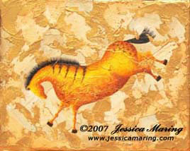 """Impressions of Lascaux II"", a painting of an ice age horse by Jessica Maring"