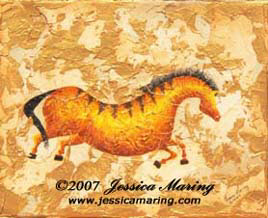 """Impressions of Lascaux III"", a painting of an ice age horse by Jessica Maring"