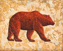 """Intent"", a painting of a strolling bear by Jessica Maring"