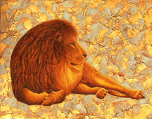 Leo Content, a painting of a lion by Jessica Maring