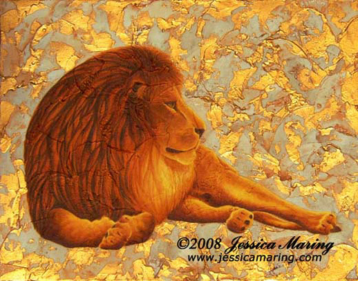 """Leo Content"", a painting of a lion by artist Jesscia Maring"