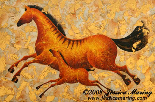 """Morning Run"", a painting of a running mare & her colt by Jessia Maring"