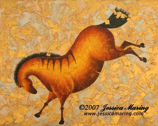"""Paleo Horse III"", a painting of a prehistoric horse bucking by Jessica Maring"
