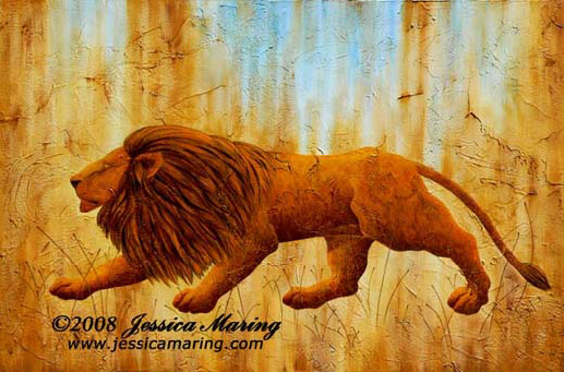 """Panthera Leo"", a painting of a prehistoric lion by Jessica Maring"