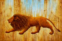 """Panthera Leo"", a painting of an ice age lion by Jessica Maring"