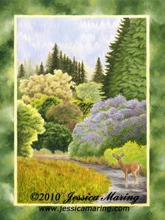 """A Path in the Park"", a landscape painting of a deer at Henry Cowell State Park"