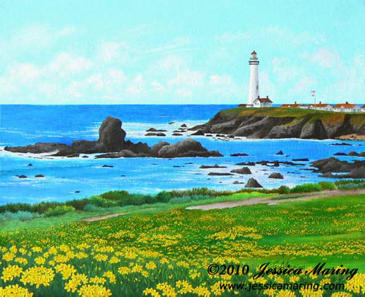 """Pigeon Point"", an oil painting of a lighthouse in California by landscape artist Jessica Maring"