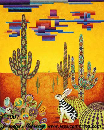 """Southwestern Zabbit"", a surreal Southwest painting by Jessica Maring"