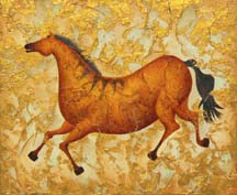 """Steppin' Out"", a painting of a frolicing ice age horse by Jessica Maring"