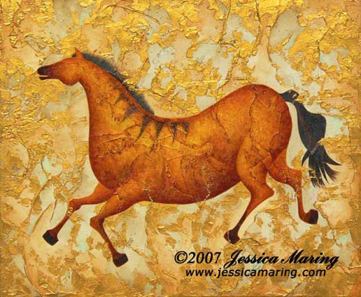 """Steppin Out"", a painting of a frolicking horse by Jessica Maring"