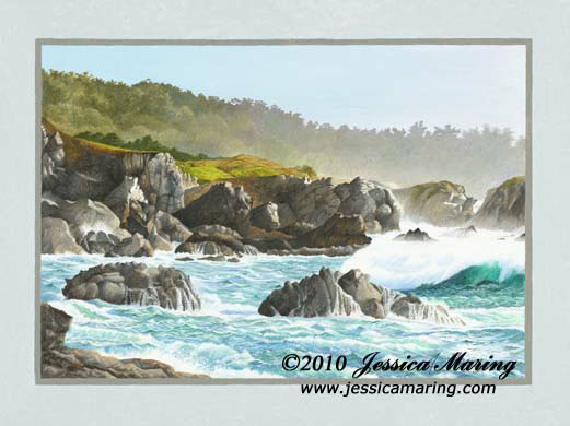 """Storm Surge Point Lobos"", a landscape painting of high waves coming into a cove"
