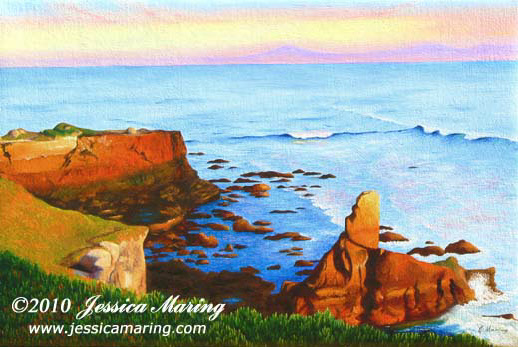 """Sunset, Santa Cruz"", an oil painting of sunset over the Monterey Bay by Jessica Maring"