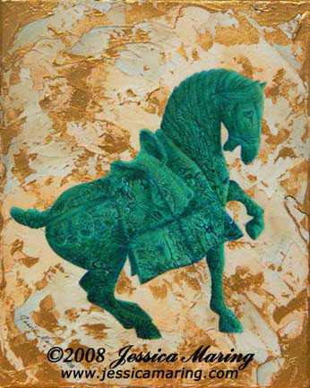 """Tang Horse II"", a painting of a verdigris horse by Jessica Maring"