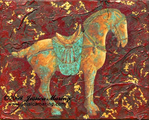 """Tang Horse III"", a painting of an amber & verdigris Tang horse by Jessica Maring"