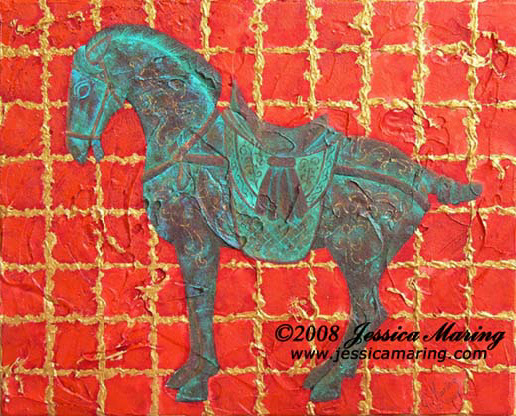 """Tang Horse IV"", a painting of a bronze Tang horse by Jessica Maring"