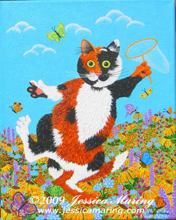 """Tatters Chases Butterflies"", a painting of a silly cat by Jessica Maring"