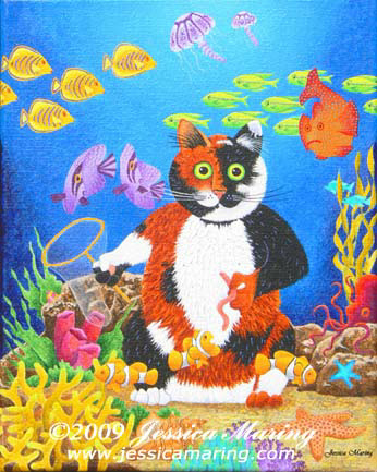 """Tatters Chases Fish"", a painting of a silly cat fishing by Jessica Maring"