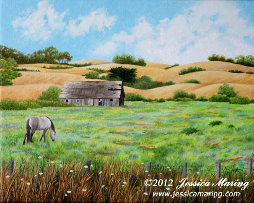 """The Old Barn"", a landscape painting of horse & barn by painter Jessica Maring"