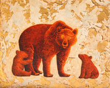 Three Bears, a painting of a bear and two cubs by Jessica Maring