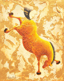 """Twister"", a painting of a horse bucking by Jessica Maring"