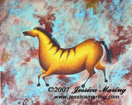 """Variations on Impressions of Lascaux I"", a painting of an ice age horse by Jessica Maring"