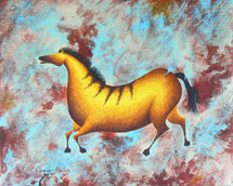 """Variations on Impressions of Lascaux I"", a prehistoric horse painting by Jessica Maring"