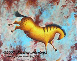 """Variations on Impressions of Lascaux II"", a painting of an ice age horse by Jessica Maring"