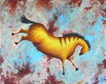 """Variations on Impressions of Lascaux II"", a prehistoric horse painting by Jessica Maring"