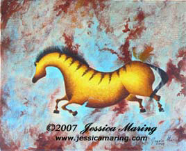"""Variations on Impressions of Lascaux III"", a painting of an ice age horse by Jessica Maring"