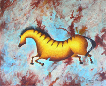 """Variations on Impressions of Lascaux III"", a prehistoric horse painting by Jessica Maring"