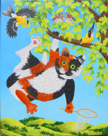 Tatters Chases Birds, a painting by Jessica Maring