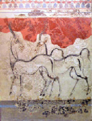 A photo of the antelope fresco at Akrotiri, a Greek island