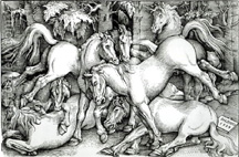 A photo of a Hans Baldung Griend woodcut of horses, circa 1534